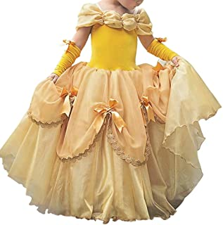Little Girl Princess Cinderella Rapunzel Belle Yellow Off Shoulder Dress Up Halloween Cosplay Costume Long Evening Dance Gown