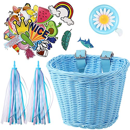 Kinder Fahrradkorb Luftschlangen Set, Kinder Fahrrad Lenker Weidenkorb mit Bunten Fahrrad Luftschlangen Glocke und Aufkleber, Fahrrad Dekoration Zubehör Kit für Mädchen (Blau)
