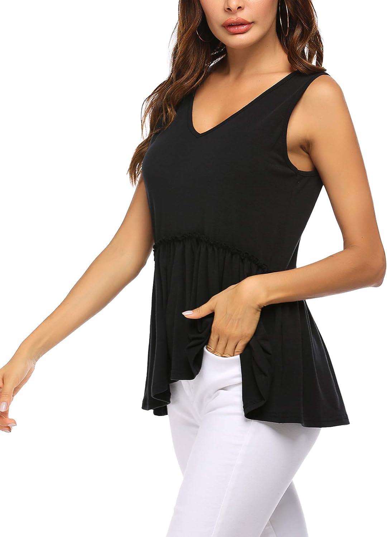 Beyove Women's Summer Ruffle Hem Peplum Tank Tops Loose Casual Sleeveless Shirts V Neck Blouses S-XXL