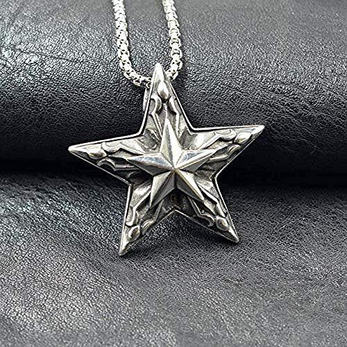 CAISHENY Collar con Colgante de Cabeza de Dios de pentáculo de Acero Inoxidable, Collar de Estrella de Plata Vintage de Metal Oculto de Suerte satanismo para Hombre