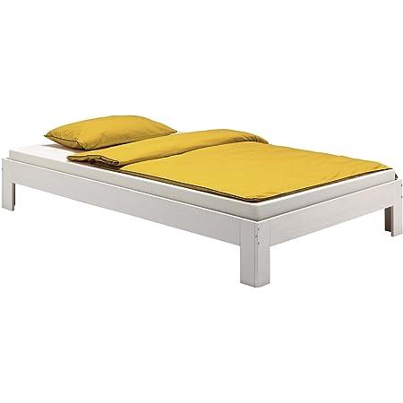 Lit futon lit double THOMAS 140 x 190 cm pin massif lasuré blanc