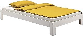 IDIMEX Lit futon Thomas Couchage Simple 120 x 200 cm 1 Place et Demi / 1 Personne, en pin Massif lasuré Blanc