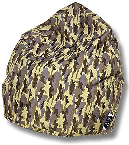 Patchhome Sitzsack Camouflage Tropfenform Khaki für In & Outdoor XXL 420 Liter - mit Styropor Füllung in 5 versch. Farben und 3 Größen