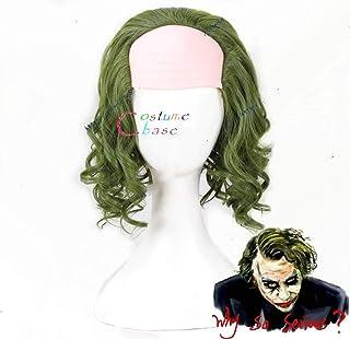 Película The Joker Origin Película Horror Scary Clown Joker Peluca Cosplay Rizado Verde Pelo sintético Halloween + Gorra de peluca gratis