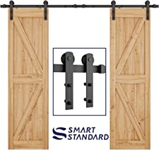 SMARTSTANDARD 8ft Heavy Duty Double Door Sliding Barn Door Hardware Kit - Smoothly and Quietly -Easy to install - Includes Step-By-Step Installation Instruction Fit 24
