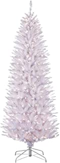 Puleo International 6.5 Foot Pre-Lit White Fraser Fir Pencil Artificial Christmas Tree with 250 Clear Lights