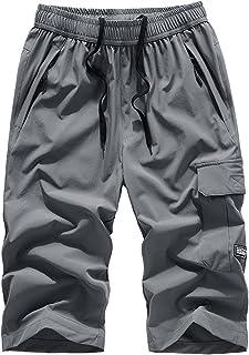 MakingDa Mens Shorts 3/4 Joggers Casual Sports Pants Summer Gym Running Below Knee Training Bottoms Elastic Waist Zip Pockets