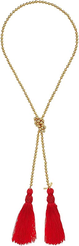 Gold Bead Necklace w/ Red Tassels