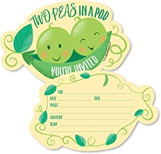 Big Dot of Happiness Double the Fun - Twins Two Peas in a Pod - Shaped Fill-in Invitations - Baby Shower or First Birthday Party Invitation Cards with Envelopes - Set of 12