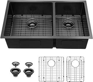 Sarlai 33 inch BlackDouble Bowl 16 Gauge Undermount 60/40 Stainless Steel Kitchen Sink