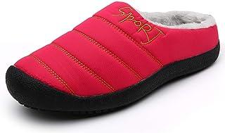 Camfosy Winter Slippers for Women Men,Fur Lined Waterproof Indoor Bedroom Mules Comfort Outdoor Anti-Skid Plush House Shoe...