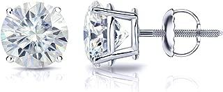 Platinum Round Moissanite Stud Earrings (1 to 7ct TGW, J-K) 4-Prong Set, Screw-Back by Diamond Wish