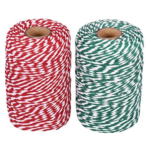 STOBOK Cuerdas de Algodón de Dos Colores Hilo de Algodón de 16 Hilos Hilo de Tejer para Caja de Regalo Adorno Navideño Artesanal 2 Rollos (Rojo Verde Y Blanco)