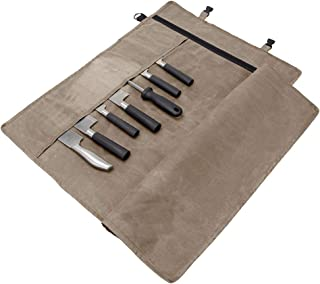Bolsa enrollable para cuchillos de chef | resistente lona encerada porta cuchillos para almacenar 10 cuchillos más cremallera para herramientas culinarias CYGJB395-A