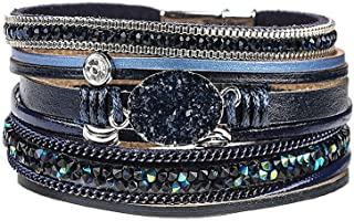 Multilayer Leather Bracelet Handmade Crystal Wrap Bangle with Magnetic Clasp Leather Wrap Bracelet Bohemian Jewelry Gift f...