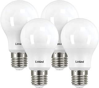 【五年保証】Linkind LED電球 口金直径E26 60形相当(7.2W) 810lm 昼白色 広配光 密閉形器具対応 長寿命40000時間 高演色 省エネ PSE認証 五年品質保証 4個