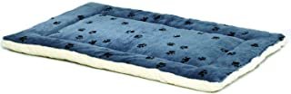 Reversible Paw Print Pet Bed in Blue/White, Dog Bed Measures 28.5L x 19.5W x 3H for Medium Dogs, Machine Wash