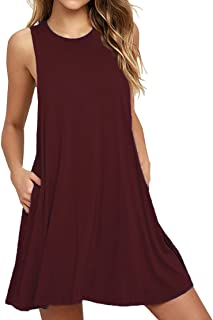 VIISHOW Women's Casual Plain Simple T-Shirt Pockets Loose Dress (S, 1Wine Red)