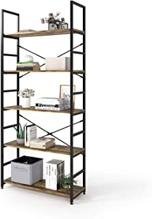 Magic Life Bookshelf, Industrial Bookcase, 5-Tier Wooden Storage Shelf with Metal Frame for Living Room, Bedroom, Entrywa...