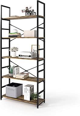 Magic Life Bookshelf, Industrial Bookcase, 5-Tier Wooden Storage Shelf with Metal Frame for Living Room, Bedroom, Entryway, O