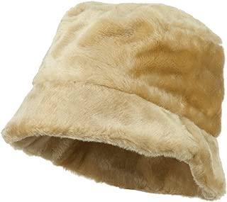 Faux Fur Large Brim Bucket Hat - Beige