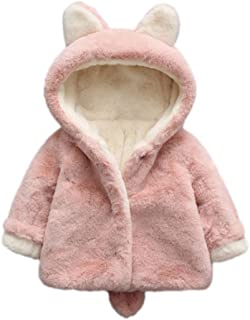 Warm Coats, Baby Girls Winter Fleece Coat Rabbit Faux Fur Hoodies Jacket Bunny Ear Hat