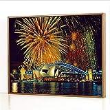 GJJHR DIY Pintura por Números Kits,Fuegos Artificiales en la Ópera de Sydney Pintada a Mano Pintura al óLeo Digital, DecoracióN del Hogar Regalo - 40x50cm(Marco de Madera)