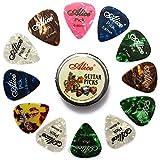 Alice 12 uds Celuloide Púas de Guitarra, Varios Tamaños Espesores 0.46mm / 0.71mm / 0.81mm Colorido Guitarra Para su Guitarra Eléctrica, Acústica, o Bajo en Caja