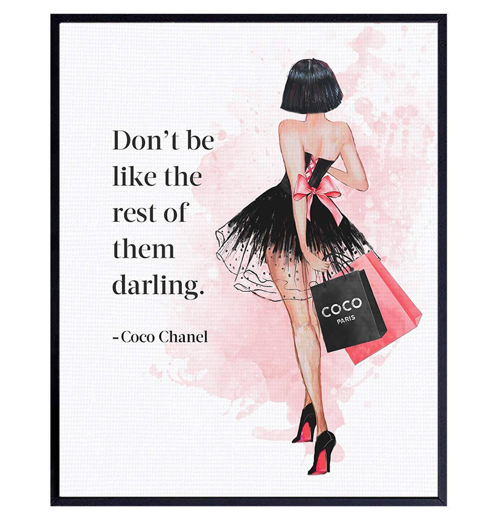 Coco Quote Wall Art - Glam Wall Decor - Luxury Fashion Design Room or Home Decoration - Couture Gift for Women, Fashionista, Girls Bedroom, Teen Room - Positive Inspirational Quote - UNFRAMED