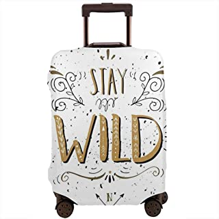 Travel Luggage Cover,Stay Wild Saying With Grunge Swirls Curves And Arrows Hand Lettering Suitcase Protector
