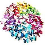 Foonii® 108 Piezas 3D Mariposa Pegatinas de Pared Etiquetas