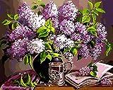Pintura al óleo flor diy dibujo lienzo cuadros pintados a mano por números lavanda decoración del hogar-50x40cm Sin marco_SZHC4459