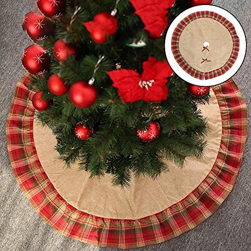 Weihnachtsbaumdecke Baumdecke, 48 Zoll Weihnachtsbaum Decke Kariertes und Sackleinen Christbaumdecke Weihnachtsbaum Rock Weihnachts Dekorationen Für Einkaufszentren,Supermärkte,Schaufenster,Häuser