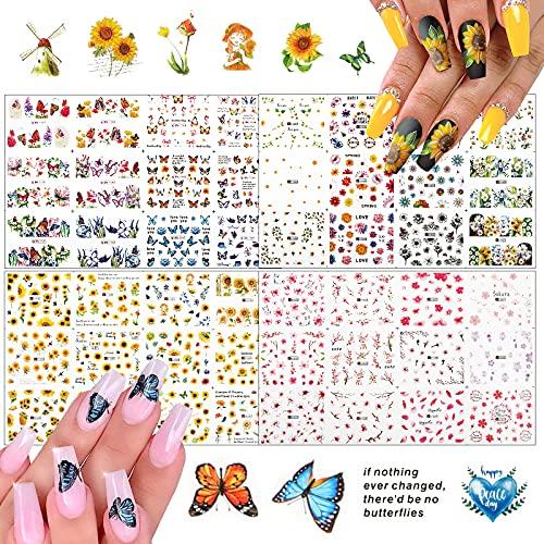 FLOFIA 48 Estilos Pegatinas Uñas Decorativas al Agua, Calcomanías Uñas Agua Flores Mariposa Girasol, Nail Art Stickers para Mujer Niñas Manicura DIY