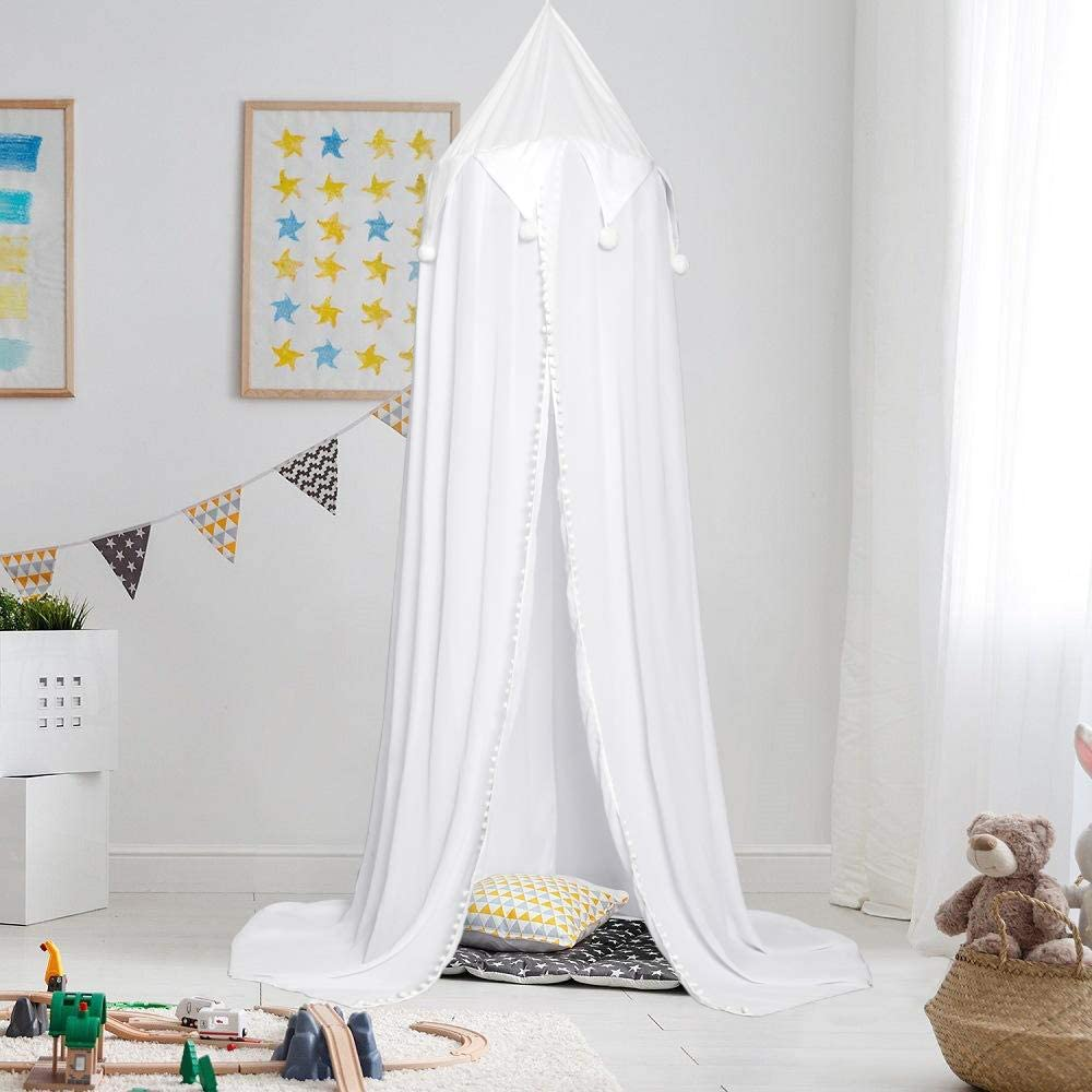JERORAY-Kids Bed Canopy for Girls Boys Playroom– Premium Chiffon Crib Canopy for Nersery – 92-Inch Bed Tent Canopy for Kids – Stable Design – Easy DIY Installation, Antique White