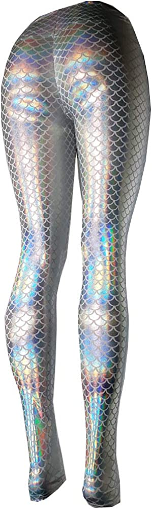 pinda Rave Iridescent Green Mermaid Holographic High Waisted Bottoms Outfits Yoga Leggings Pants at  Women's Clothing store