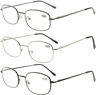 Eyekepper Metal Frame Spring Hinged Arms Reading Glasses 3 Pair Valupac Metal Readers +1.0