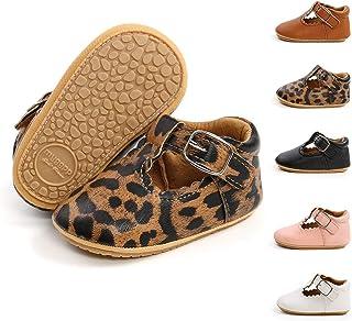 BiBeGoi Zapatos de piel sintética con cordones antideslizantes suela de goma suave para niños y niñas