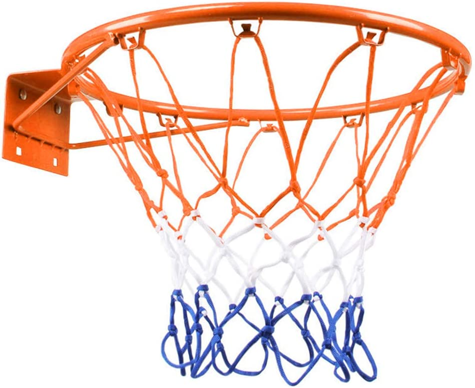 Doolland 32cm Hanging Basketball Wall Mounted Goal Hoop Rim Net Sports Netting Indoor Outdoor with a Uninflated basketball
