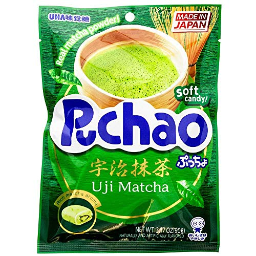 UHA Mikakuto Japan Puccho Puchao Soft Candy with Gummy Bits, Green Tea Uji Matcha Flavor, 3.17 Ounce