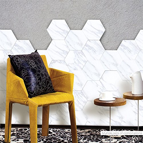 "AmazingWall Marble Effect Floor Sticker Tile Wall Decor Hexagon Skip Proof Kitchen Bathroom Decals Self Adhesive 4.53x7.87"" 10 Pcs/set"