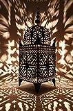 Orientalische Laterne aus Metall Schwarz Frane 165cm groß | Marokkanische Gartenlaterne für draußen, Innen als Bodenlaterne | Marokkanisches Gartenwindlicht Windlicht hängend oder zum hinstellen