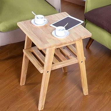 ZZHF La Table de Nuit Table D'appoint, Table Basse Carrée en Bois Massif, Table d'angle pour Canapé de Salon, Support