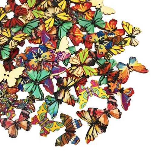 BlueXP 100 Unidades Botón de Mariposa Pintado de Madera Colores Variados Hebilla de 2 Agujeros para Decoración de Manualidades