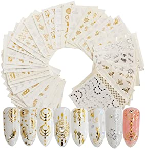 Hanzel Gold&Sliver Nail Art Water Transfer Stickers - 30Pcs Mixed Pattern Metallic Nail Stickers Manicure DIY Nail Decals, Flowers Butterfly Lace Art Design Nail Decorations