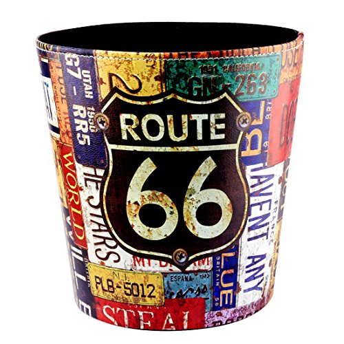 ANNA SHOP Papierkorb, PU Leder Große Dekorative Papierkorb Papierkorb Papierkorb Mülleimer für Schlafzimmer Büro Wohnzimmer (66 Route Pattern)