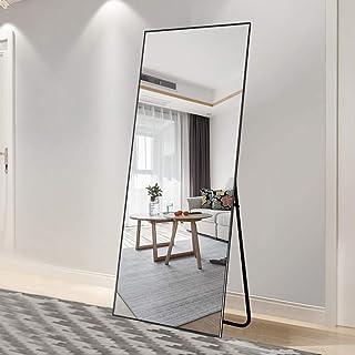 """آینه تمام کف Gavinsi با پایه آویزان یا متکی به دیوار (65 """"x22"""" ، سیاه (قاب نازک))"""
