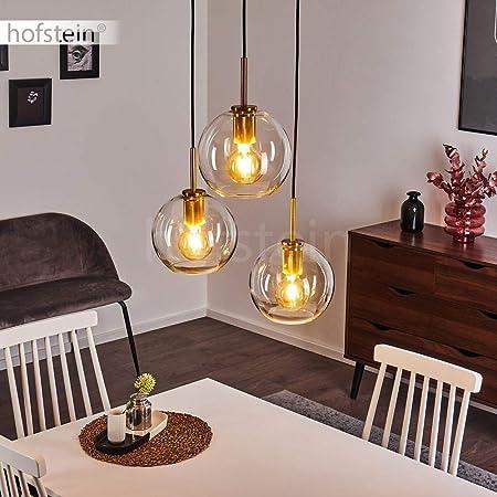 Suspension Karo en métal doré et verre transparent, élégantes lampes pendantes vintages à hauteur ajustable, max. 120 cm, pour 3 ampoules E27 max. 60 Watt, compatible ampoules LED