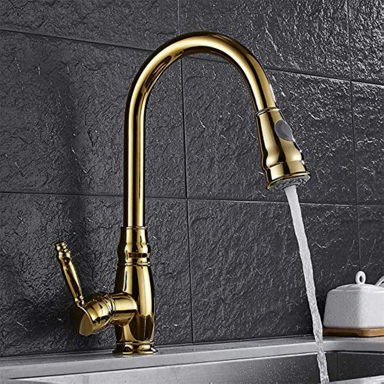 New Gold Pull Single Single Hole Warmes und kaltes Wasser Wasserhahn Waschbecken Wasserhahn