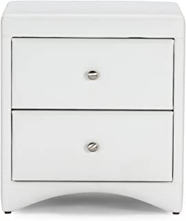 Baxton Studio Dorian Faux Leather Upholstered Modern Nightstand, White